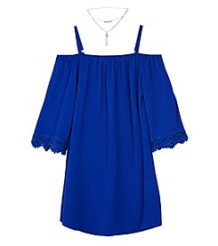 Amy Byer Girls' 7-16 Cold Shoulder Dress and Necklace Set