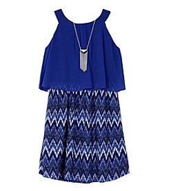 Amy Byer Girls' 7-16 Sleeveless Chevron Pop Over Dress