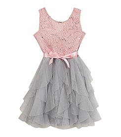 Rare Editions® Girls' 7-16 Sleeveless Cascade Mesh Dress