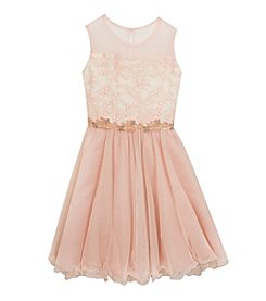 Rare Editions® Girls' 7-16 Lace Illusion Neck Dress