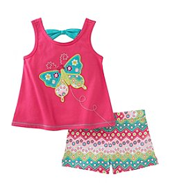 Kids Headquarters® Girls' 3T-6X 2 Piece Butterfly Tank And Shorts Set