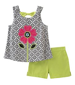 Kids Headquarters Girls' 2T-6X 2 Piece Flower Tank And Shorts Set