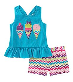 Kids Headquarters® Girls' 2T-6X 2 Piece Ice Cream Tank And Shorts Set