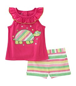 Kids Headquarters® Girls' 2T-6X 2 Piece Turtle Tank And Shorts Set