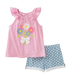 Kids Headquarters® Girls' 2T-6X 2 Piece Floral Tank And Shorts Set