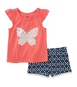 Kids Headquarters® Girls' 2T-4T 2 Piece Butterfly Tank And Shorts Set