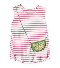 Jessica Simpson Girls' 7-16 Sleeveless Song Stripe Lime Purse Tee