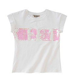 Calvin Klein Jeans Girls' 7-16 Short Sleeve Knockout Sequin Striped Tee