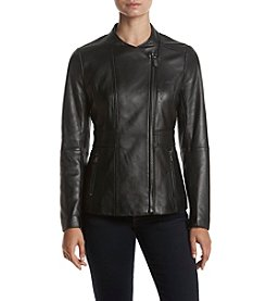 Anne Klein Asymmetric Front Leather Jacket