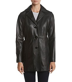 Anne Klein Notch Collar Leather Jacket