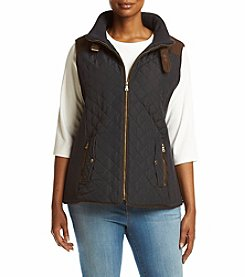 Gallery® Plus Size Faux Suede Detail Quilted Vest