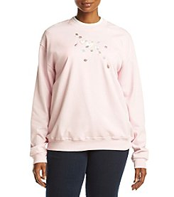 Breckenridge® Plus Size Floating Hearts Fleece