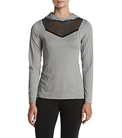 Ivanka Trump® Athleisure Mesh Insert Knit Hooded Top