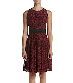 Taylor Dresses Magenta Floral Lace Dress