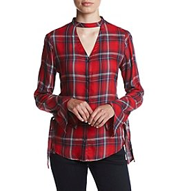 Jessica Simpson Carol Choker Neck Plaid Shirt