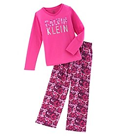Calvin Klein Girls 5-16 Long Sleeve Flower Print Pajama Set