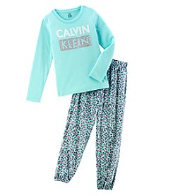 Calvin Klein Girls' 5-16 Long Sleeve Leopard Print Pajama Set
