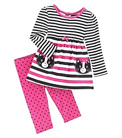 Nannette® Baby Girls' 2 Piece Kitty Top And Pants Set