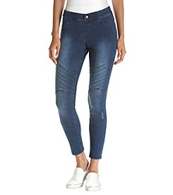 HUE® Blue Distressed Denim Leggings
