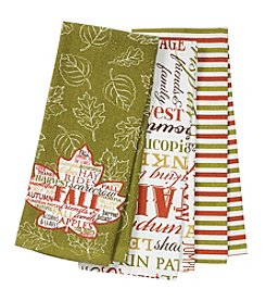 Chef's Quarters 3-Pack Leaf Words Kitchen Towels