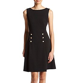 Ivanka Trump® Button Detail Crepe Dress