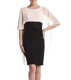 Betsy & Adam® Beaded Cape Dress