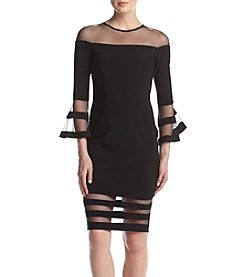 Betsy & Adam® Mesh Detail Bell Sleeved Dress