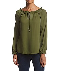 NY Collection Cold Shoulder Peasant Top