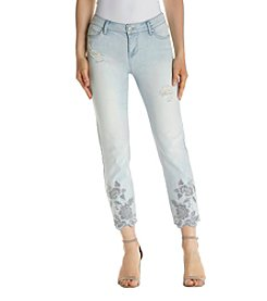 Celebrity Pink Ankle Embroidered Step Hem Jeans