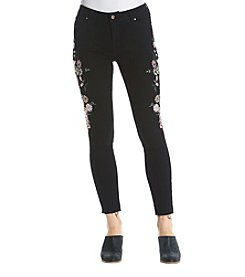 Celebrity Pink Floral Embroidered Raw Hem Jeans
