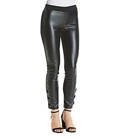 Sequin Hearts Faux Leather Mix-Up Lace Up Leggings