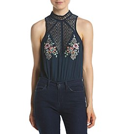 Sequin Hearts Embroidered Lace Yoke Bodysuit