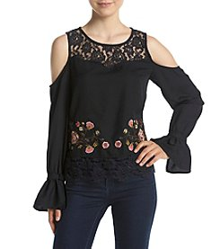 Jessica Simpson Dara Lace Embroidered Cold Shoulder Top