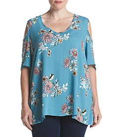 Bobeau® Plus Size Cold Shoulder Top