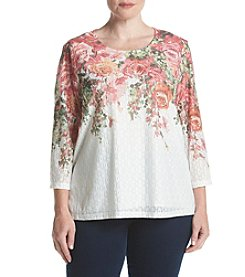 Alfred Dunner® Plus Size Botanical Gardens Floral Yoke Top
