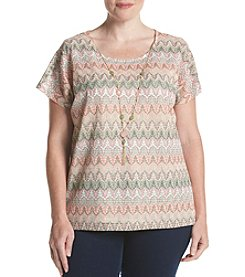 Alfred Dunner® Plus Size Botanical Gardens Zig Zag Top