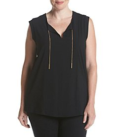 MICHAEL Michael Kors® Plus Size Woven Panel Chain Top