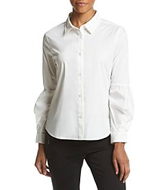 Calvin Klein Pleated Sleeve Button Front Top