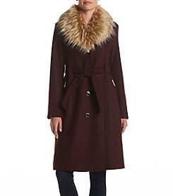 GUESS Belted Faux Fur Collar Coat