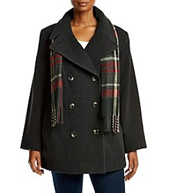 London Fog® Plus Size Envelope Collar Coat And Scarf