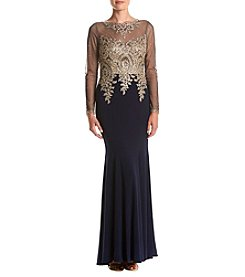 Xscape Beaded Mermaid Illusion Sleeve Dress