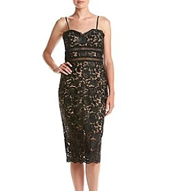 Xscape Midi Floral Lace Illusion Sheath Dress