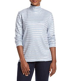Studio Works® Petites' Foil Striped Mock Neck Long Sleeve Tee