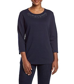 Studio Works® Petites' Embellished Crew Neck Top