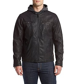 Levi's® Faux Leather Hooded Moto Racer Jacket