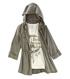 Beautees Girls' 7-16 2 Piece Three Quarter Sleeve Anorak and Dream Tee Set