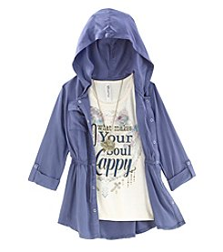 Beautees Girls' 7-16 2 Piece Anorak And Happy Tee Set