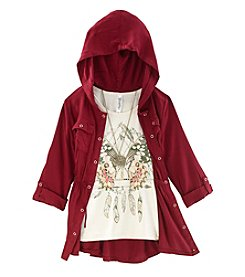 Beautees Girls' 7-16 2 Piece Anorak And Butterfly Tee Set