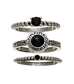 Ruff Hewn Silvertone Three Piece Black Stone Ring Set