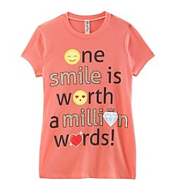 Beautees Girls' 7-16 One Smile Is Worth A Million Words Tee